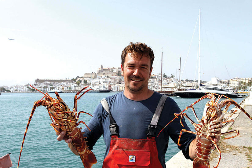 Ibizan lobster. From the fishing boat to the table