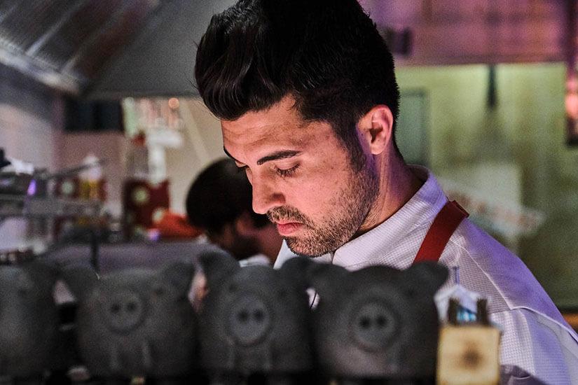 Jonay Hernández, el chef tinerfeño que rompe en Mallorca con su personal Nueva Cocina Canaria (La Vieja, Palma), se presenta en Madrid, en el hotel Orfila, junto a sus chefs Mario Sandoval y Fernando Díaz