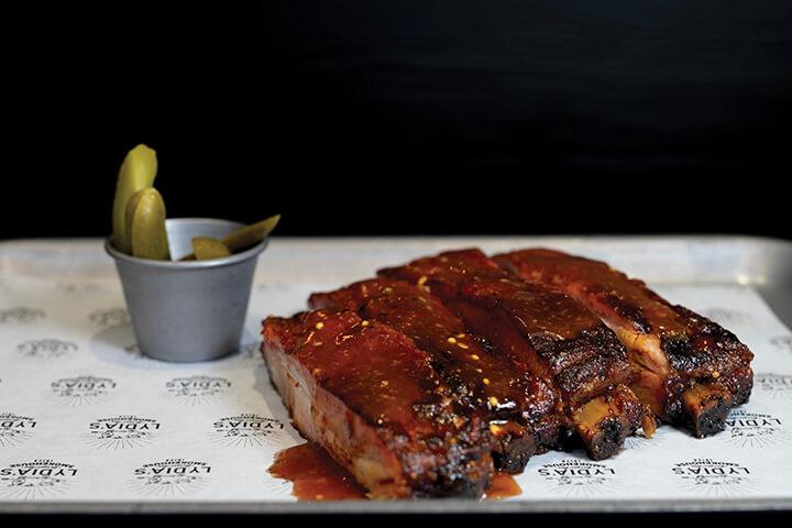 BBQ ribs american style. Lydia's Smokehouse. Ibiza