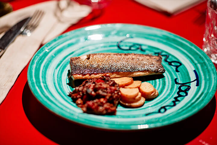 Sea bass loin with roasted potatoes. Ca Na Joana Restaurant. Formentera