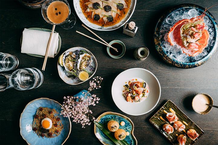 Selección de platos del restaurante OKU Ibiza