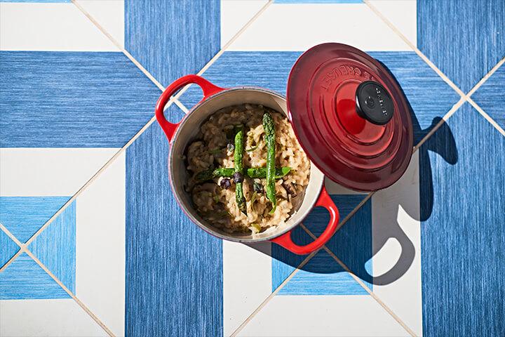 Creamy rice with mushrooms wild asparagus and basil. El Corsario Restaurant and Terrace.