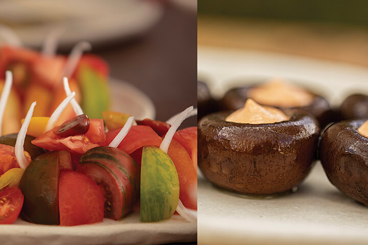 Ensalada de tomates de temporada con cebolleta y portolbellos confitados con mayonesa de cala diabla. Casa Jondal, Ibiza