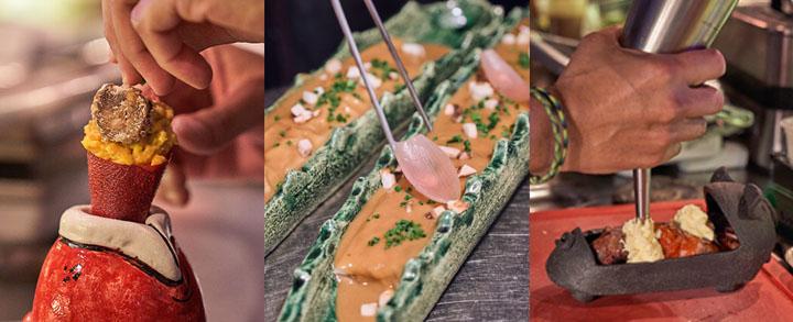 Ensaladilla de batata, canelón de ropa vieja y bichillo. Restaurante La Vieja, Mallorca.