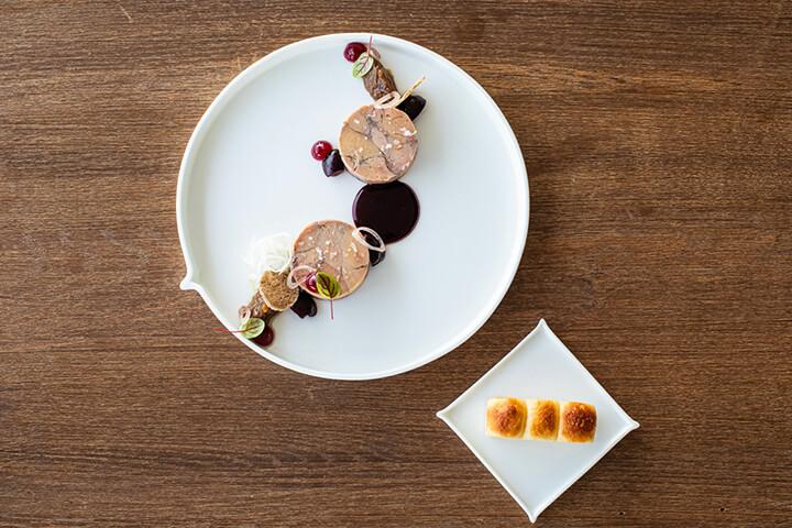 Homemade foie gras, daikon and cherries. The View Restaurant. 7Pines, Ibiza