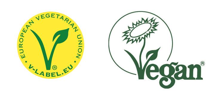 Logotipos veganos: V label y The Vegan Society