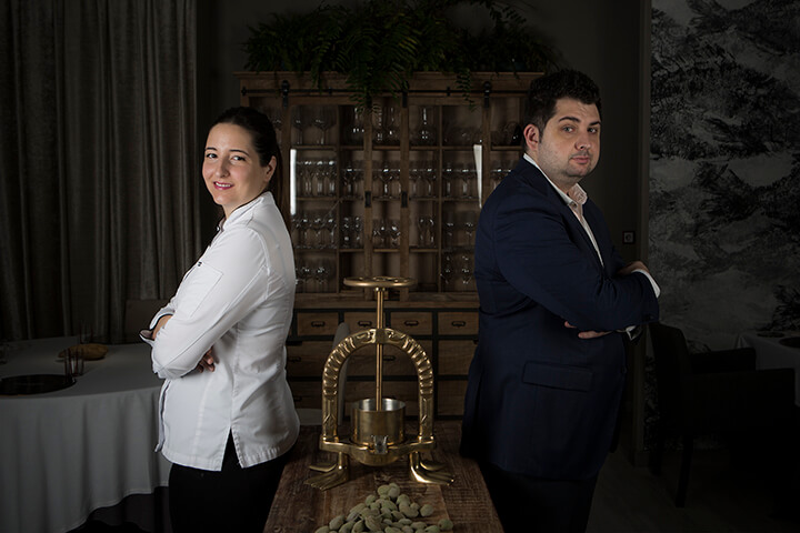 Chef María Gómez y sumiller Adrián de Marcos. Restaurante Magoga