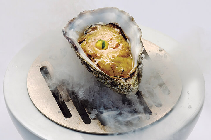 Seared Gillardeau oyster with foie