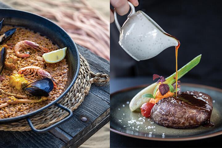 Seafood paella and beef tenderloin at The Beach at Hard Rock Hotel Ibiza