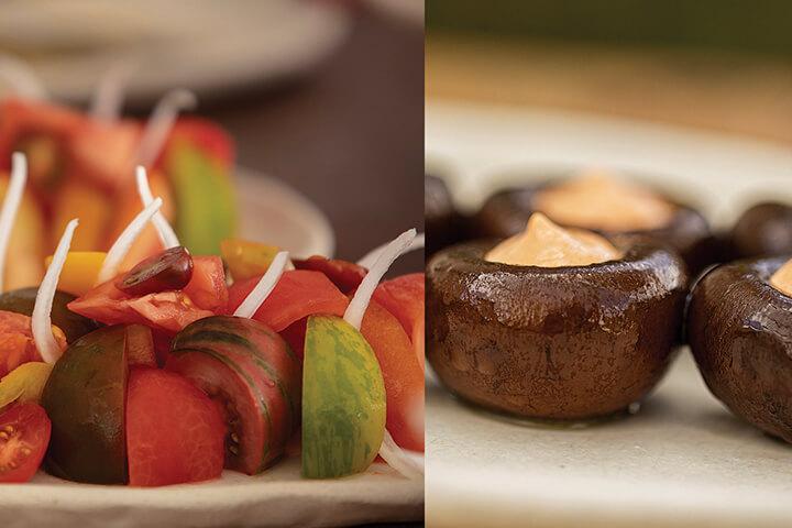 Seasonal tomato salad with onion and mushroom portolbellos confit with mayonnaise of cala diabla. Casa Jondal. Ibiza