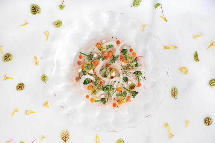 Tiradito de gambosí. Restaurante La Gaia by Óscar Molina. Eivissa