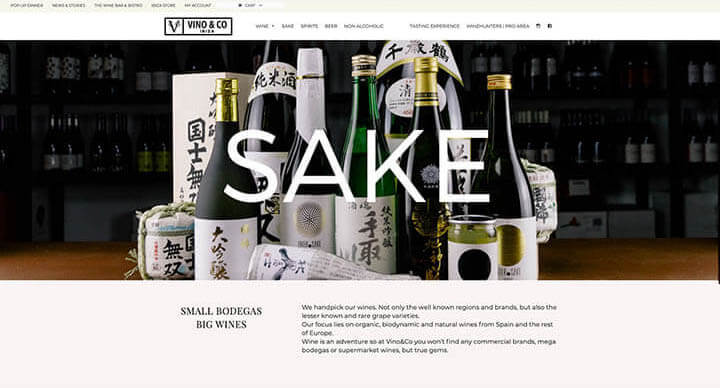 Sección de sake Vino&Co