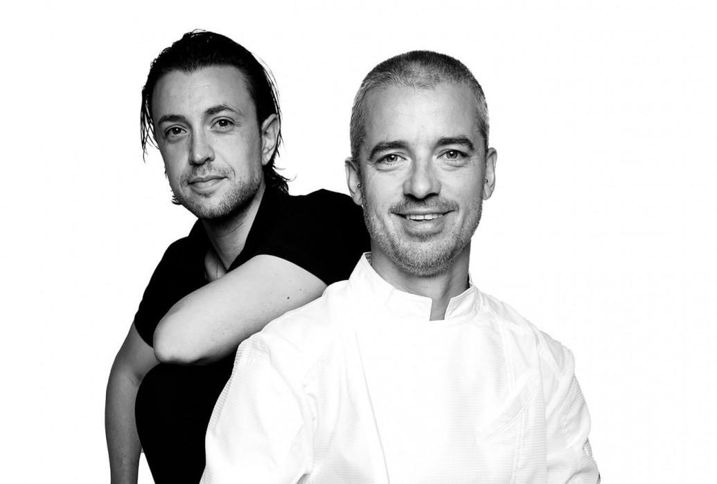 Head chef Aitor Monteagud y maître Alejandro Simón. Restaurante La Veranda en Agroturismo Atzaró