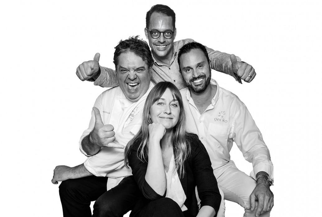 Juan Craywinckel, Christophe Denhez, Joost kruissen y Shauna Smith. Restaurante de Gecko hotel & beach club