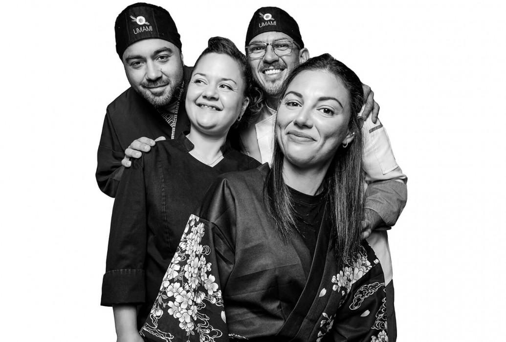 Mario Puertas, Carlos Navarro, Giovanna Pinna y Marta Puertas. Restaurante Umami Ibiza Sushi & Bento