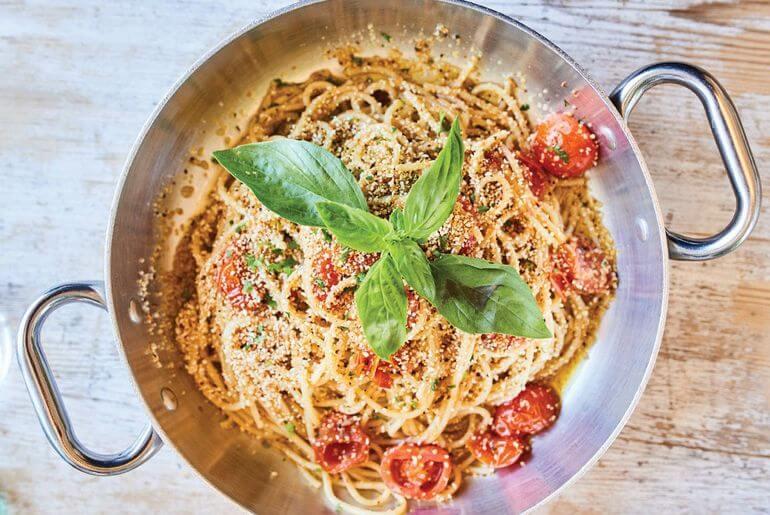 Espaguetis a la amatriciana. El Gioviale, Formentera