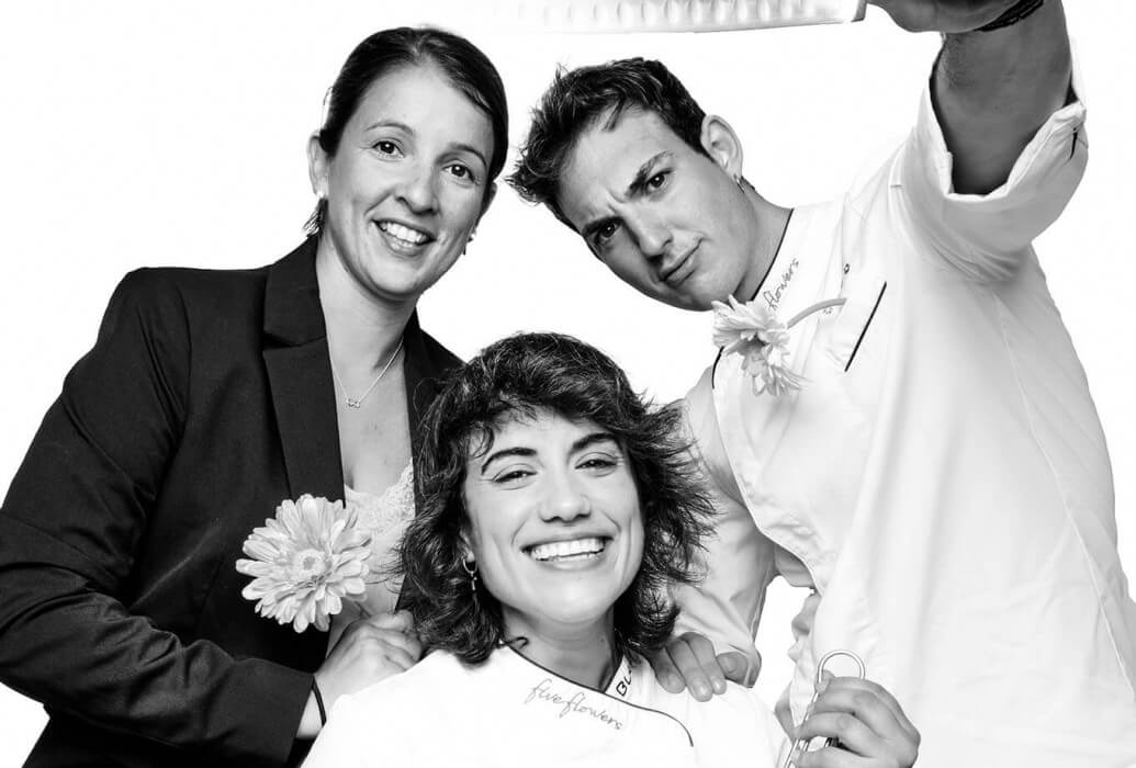 Manager Patricia Cirera, Executive Chef Sara Valls y Sous Chef Jose Mansilla. Restaurante Janis, Formentera.