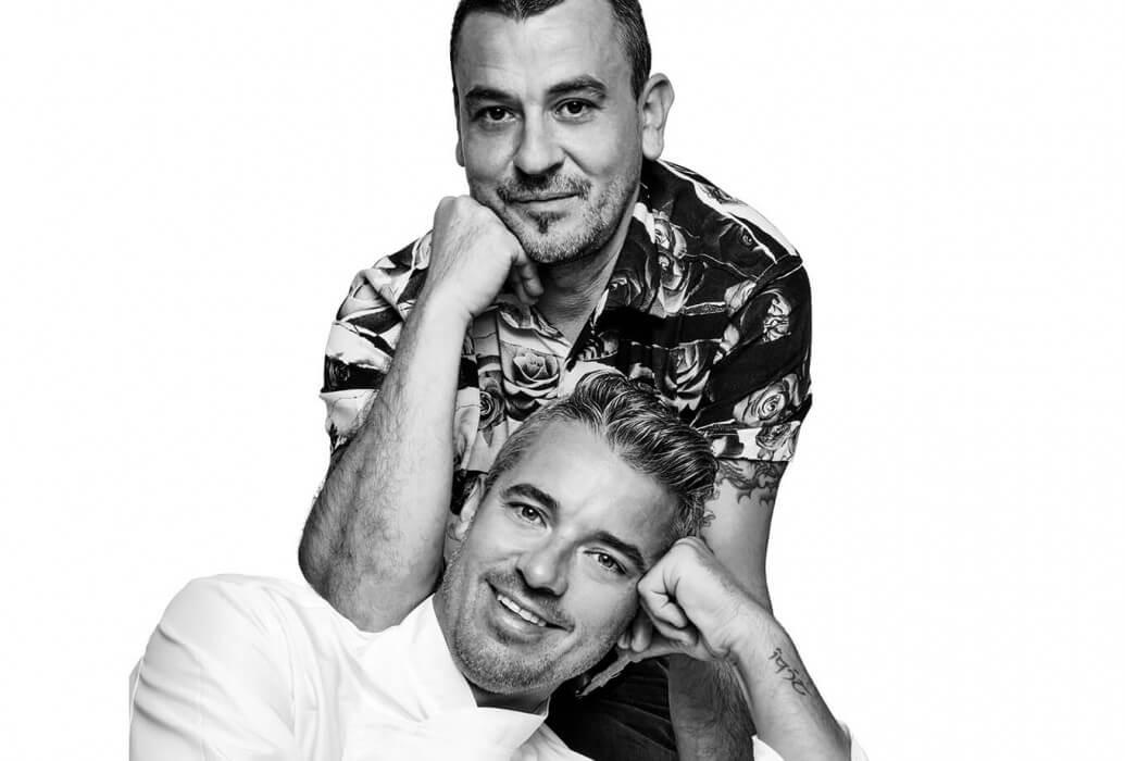 Head chef Aitor Monteagud y maître Jesús Pino. Restaurante La Veranda en Agroturismo Atzaró