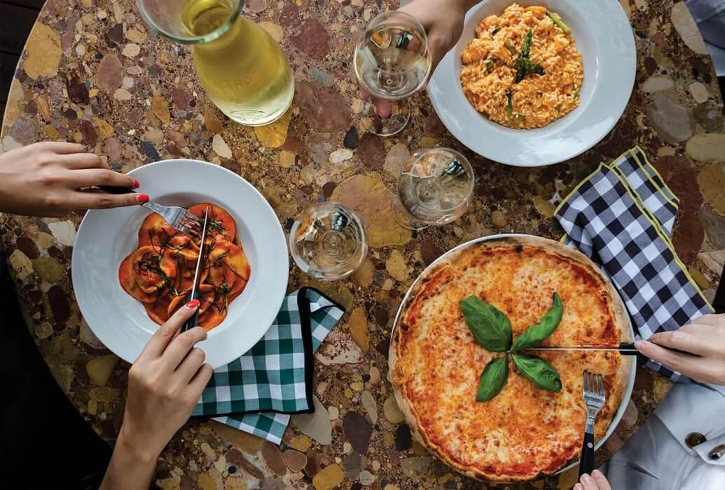 Ravioli, risotto e pizza margarita. Restaurante Zero Zero, Lisboa