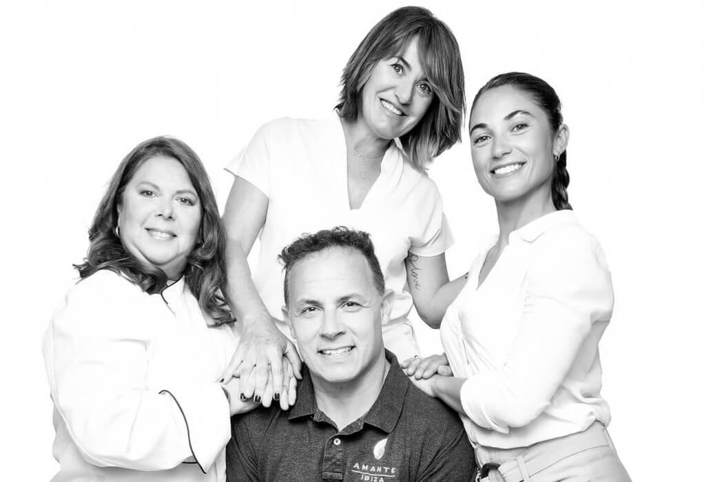 Pastry chef Gabriela Chaben, supervisor Inma Vizcaino, manager Verónica Torres y bar manager Rogelio Boehler. Restaurante Amante Ibiza