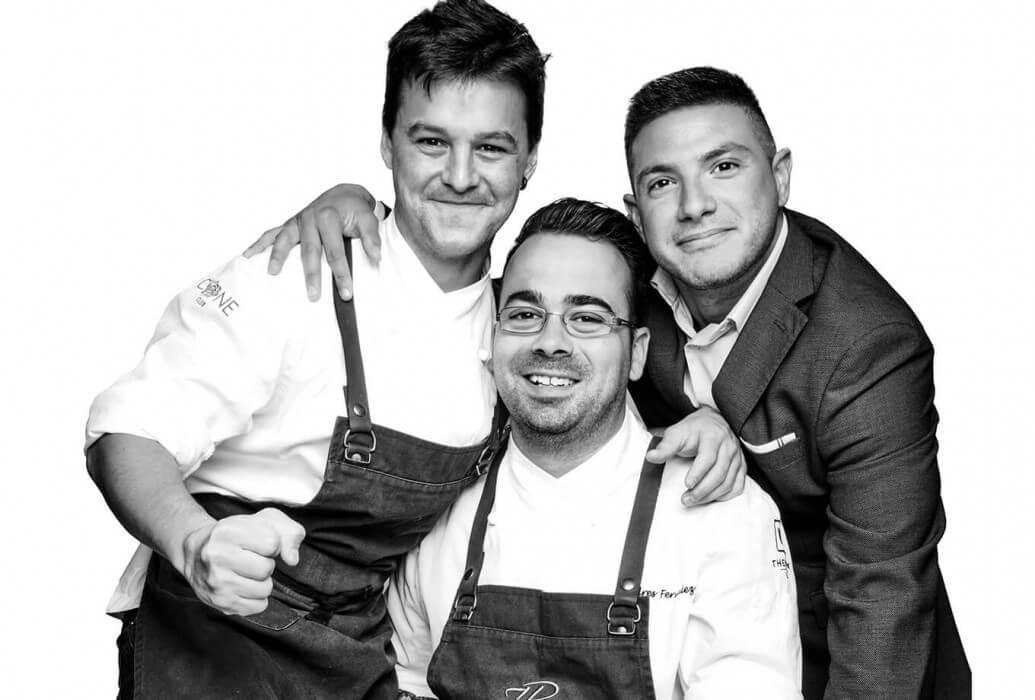 Head chef David Gómez, executive chef Andrés Fernández y assistant restaurant manager Juan Pablo Esquivel. Restaurante The View 7 Pines Kempinski Ibiza