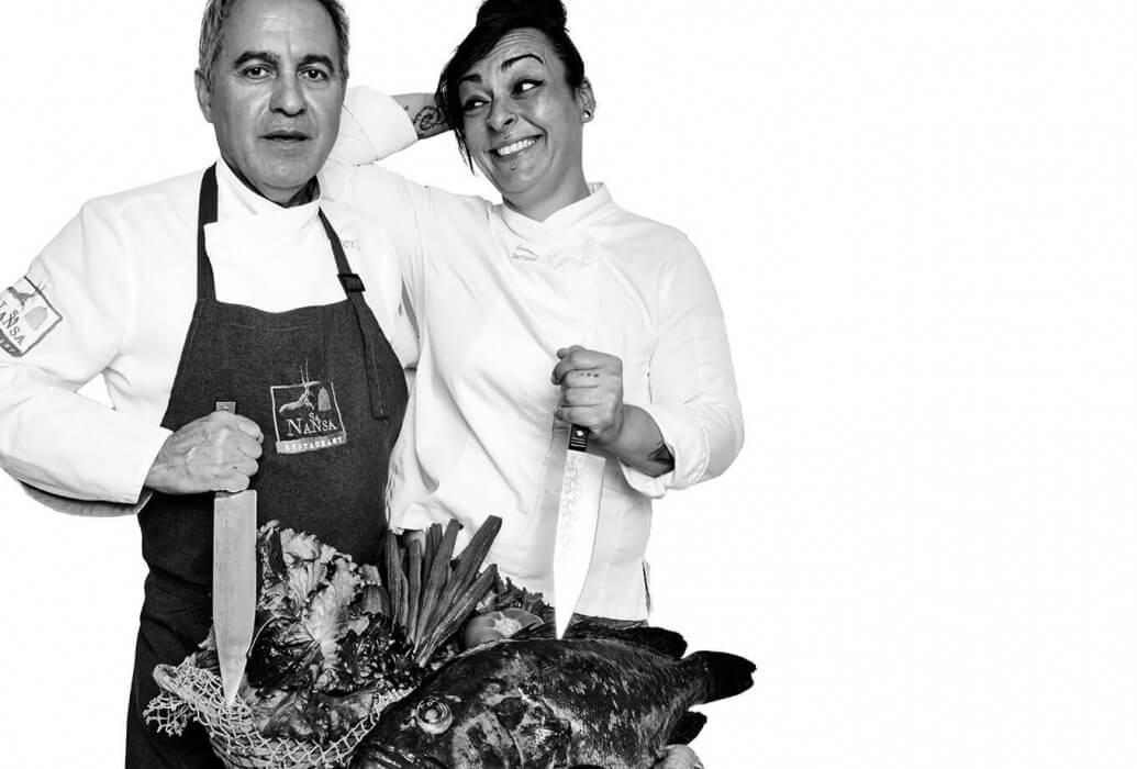 Chef ejecutivo y propietario Pedro Tur y chef Gemma Serrano. Restaurante Sa Nansa