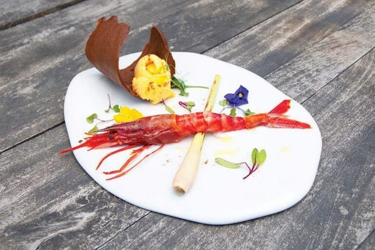 Gamba roja. Restaurante Es Mal Pas, Formentera