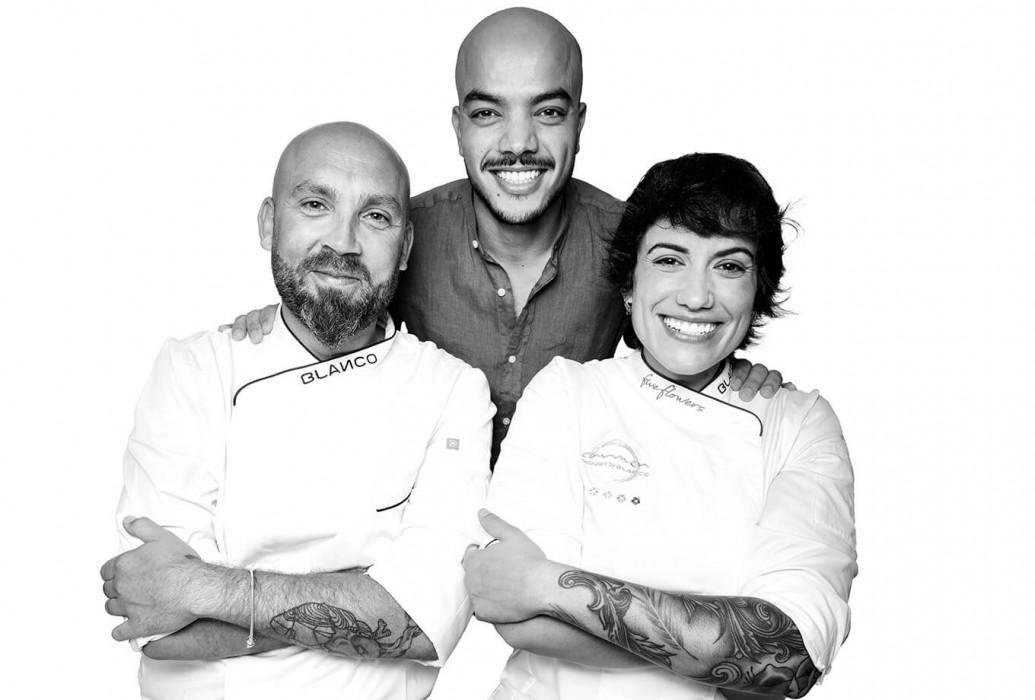 Sara Valls, Efren Martín y Abdel el Habchaoui. Carmen Restaurant by Blanco, Formentera