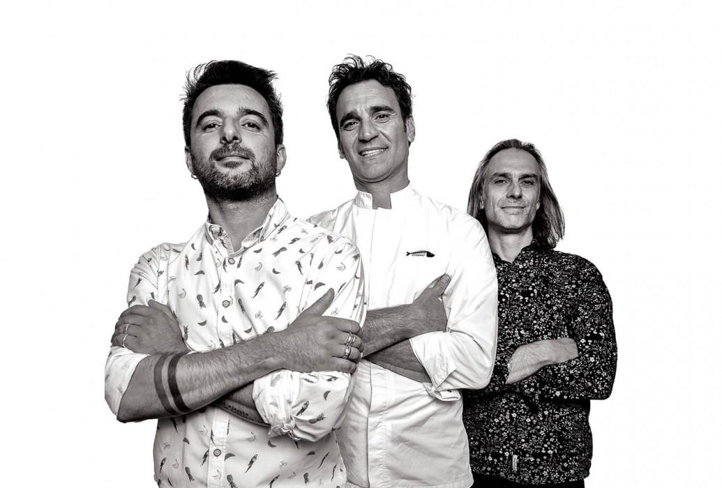 Simone Masuzzo, Antonio D'Angelo y Daniele Bettinzioli. Restaurante Molo47, Formentera