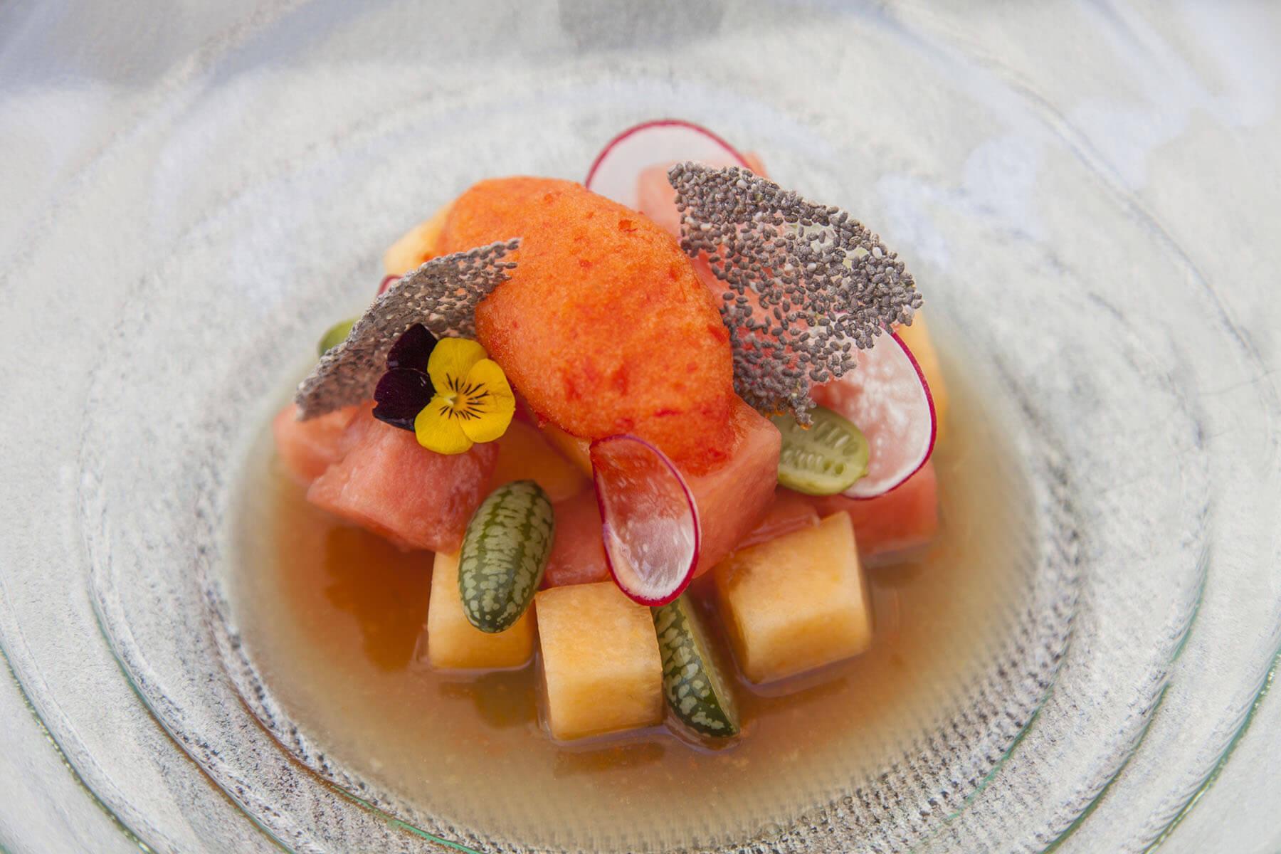 Melon ceviche with rocoto pepper sorbet