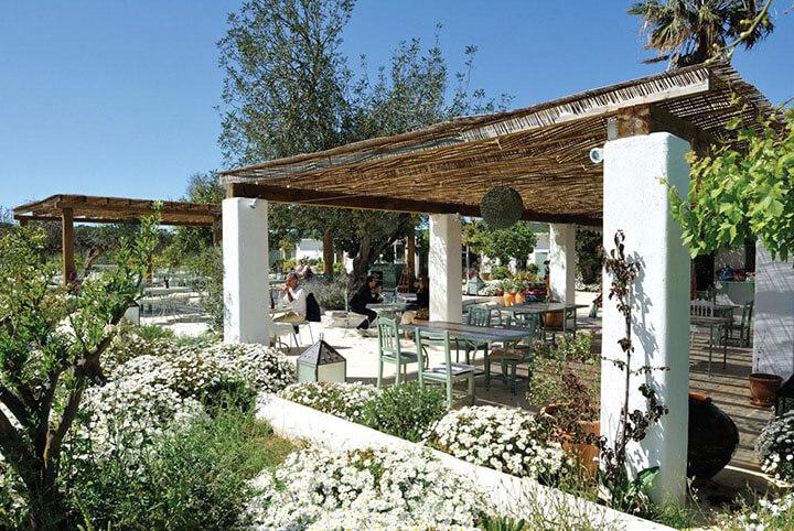 Aubergine Ibiza restaurant terrace.