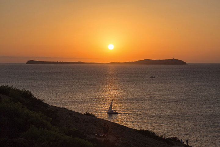 Hostal La Torre sunset view. Ibiza