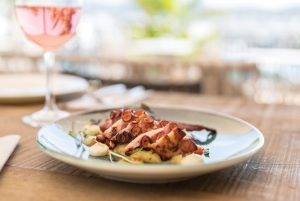 Plato de pulpo en Restaurante Villa Mercedes. Ibiza