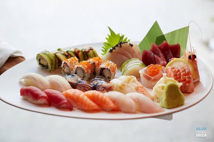 Sushi dish by Blue Marlin Beach Restaurant. Ibiza