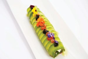 Cannelloni avocado, mozzarella and caviar. Carmen Restaurant by Blanco