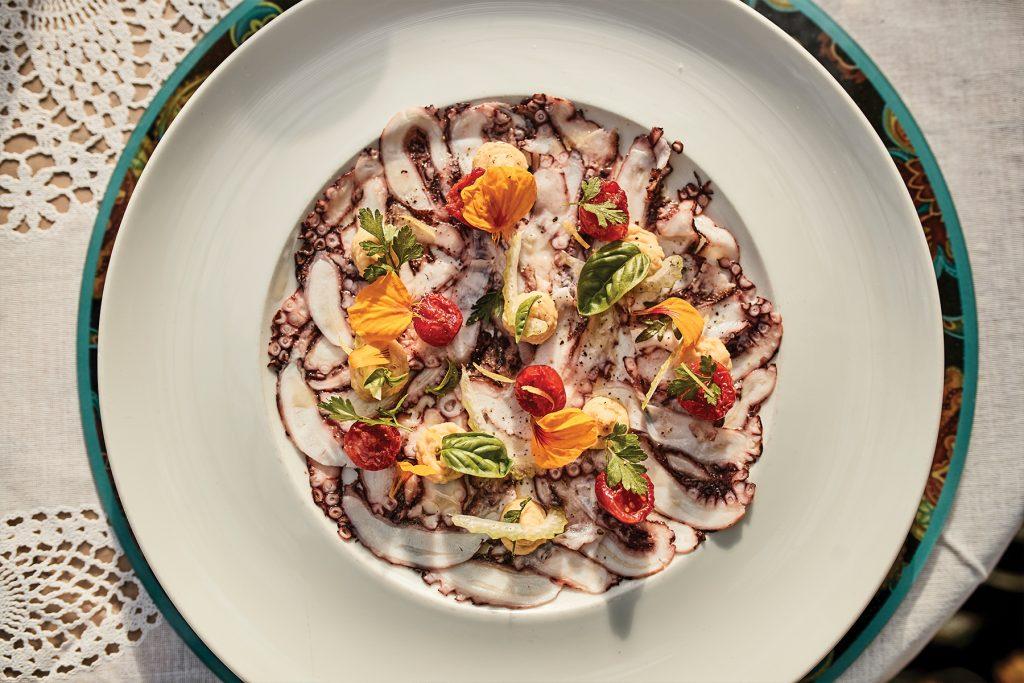 Octopus carpaccio. Restaurant A Mi Manera Formentera
