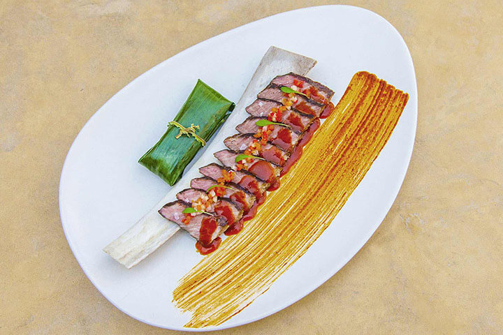 Churrasco achiote del Restaurante Coricancha. Ibiza