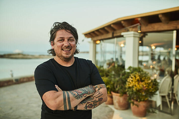 Gian Paolo in front of Bocasalina Restaurant. Formentera