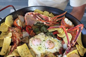Lobster, eggs and potatoes. Restaurant Sol, Formentera