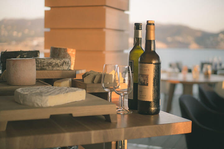 Wines and cheese. The View, Seven Pines Ibiza Resort