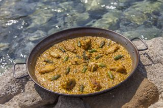 Chicken and asparagus paella. Yemanja Restaurant, Ibiza