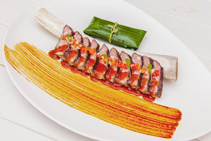 Churrasco achiote. Coricancha Nikkei Restaurant & Lounge Bar