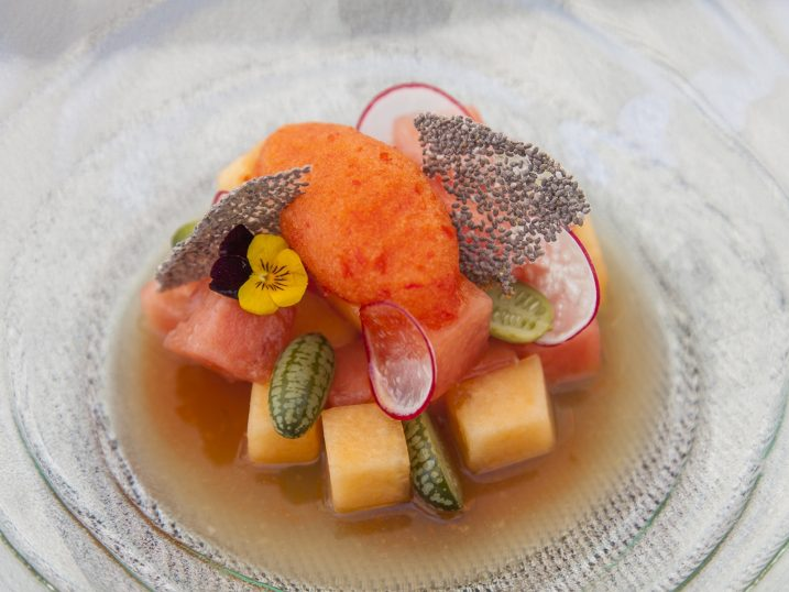 Melon ceviche with rocoto pepper sorbet. Blue Marlin Ibiza Marina Restaurant
