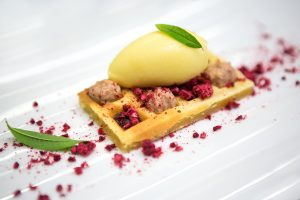 Passionfruit waffles with chocolate and vanilla mousse. Pacha el Hotel, Ibiza