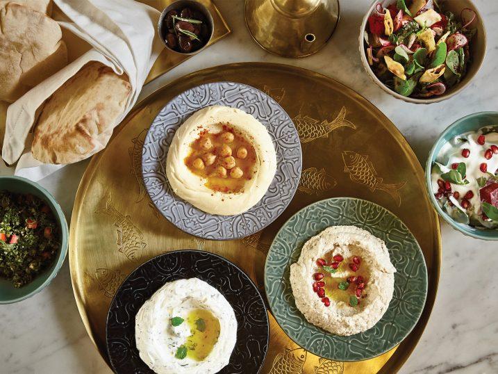 Baba Ghanough, Labneh W Toum and Hummus. Za'arte