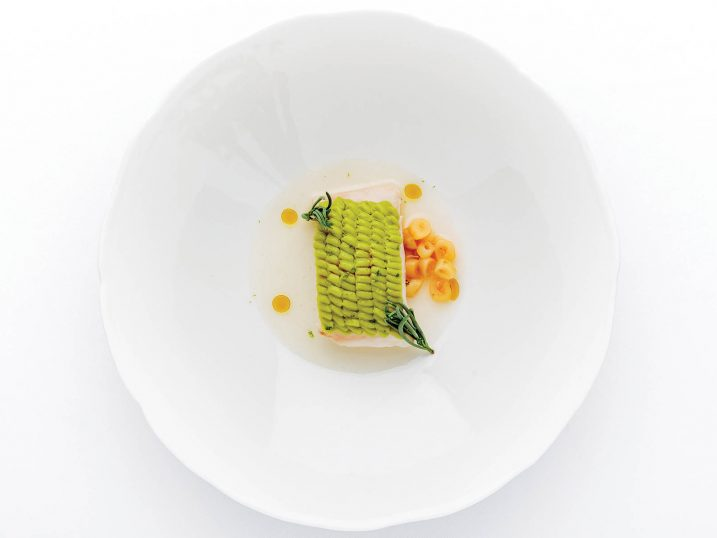 Robalo com abacate fumado. Restaurante Belcanto, Lisboa
