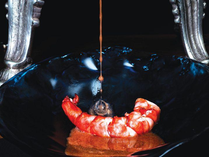 Carabinero de Algarbe salteado. Restaurante Feitoria, Lisboa