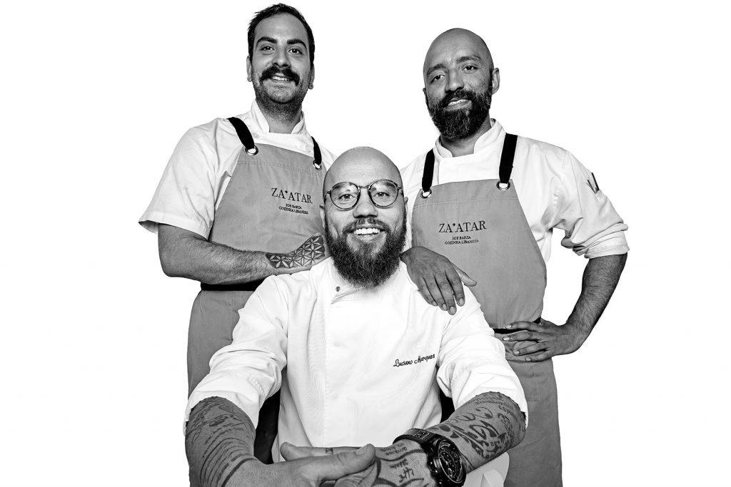 Marcelo, Luciano y Gilberto. Restaurante Za'atar. Lisboa