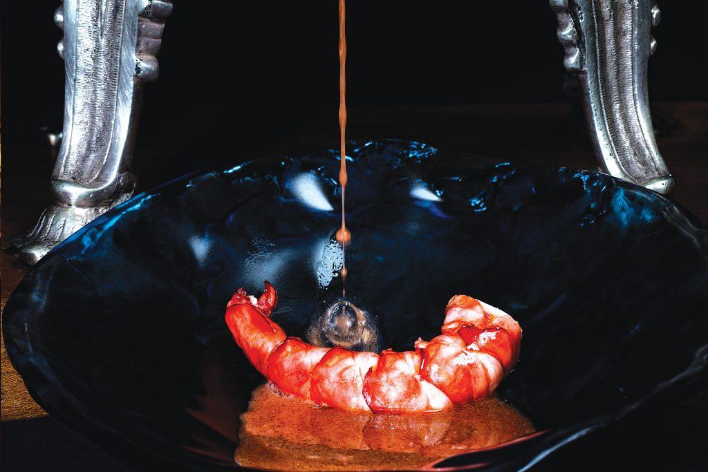 Carabinero de Algarve salteado. Restaurante Feitoria, Lisboa