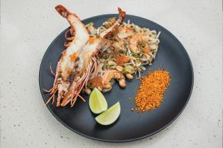 Tiger shrimp pad thai and katsobushi. Restaurant O Asiático, Lisbon
